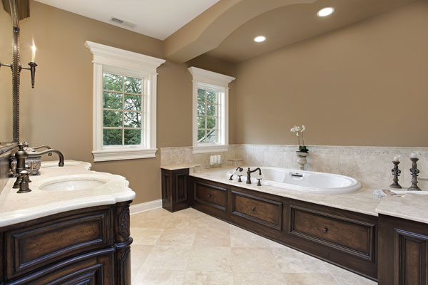 Marble Bathroom Ideas To Create A Luxurious Scheme: Classic-Brown-Bathroom-With-Lights-And-Bathtub-Neutral